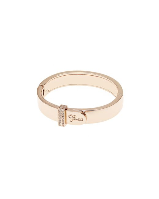 Guess | Metallic Absolute Logo Mini Pave Rose Gold-plated Bangle Bracelet | Lyst