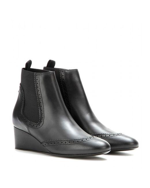 Balenciaga | Black Leather Wedge Boots | Lyst