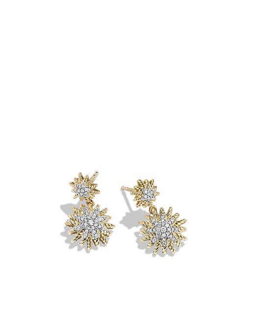 David Yurman | Metallic Double-drop Earrings With Diamonds In 18k Gold | Lyst