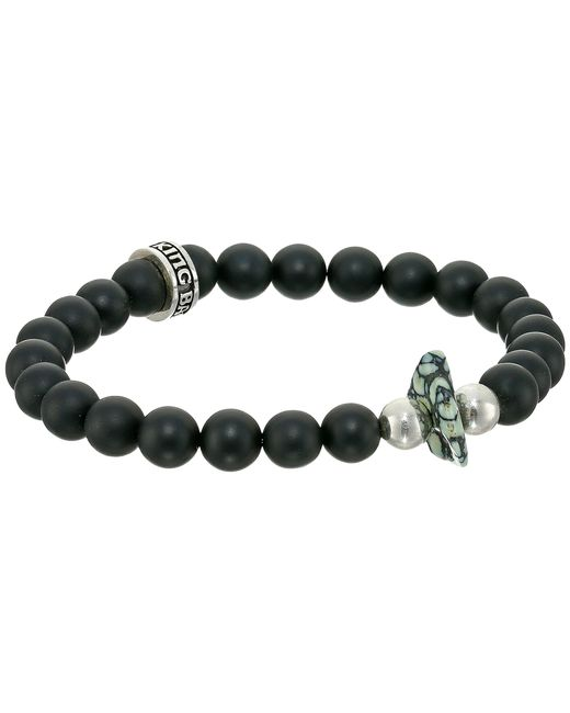 King Baby Studio | Black 8mm Onyx Bead Bracelet With Natural Top Hat Spotted Turquoise | Lyst