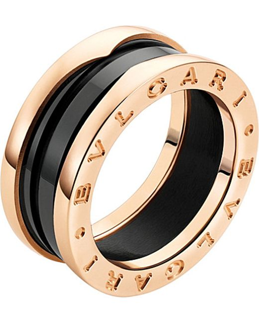 BVLGARI | Metallic Bzero1 18ct Pink-gold and Ceramic Ring | Lyst