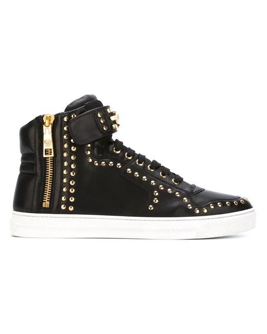 Versace Studded Hi Top Sneakers In Black Save 30 Lyst