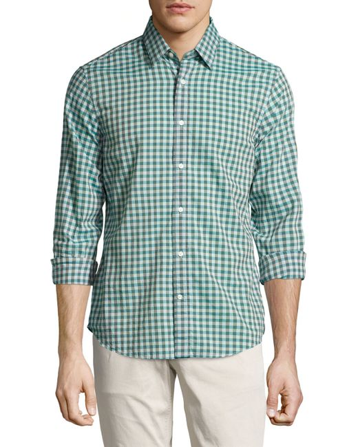 vince gingham poplin shirt in green for men teal lyst