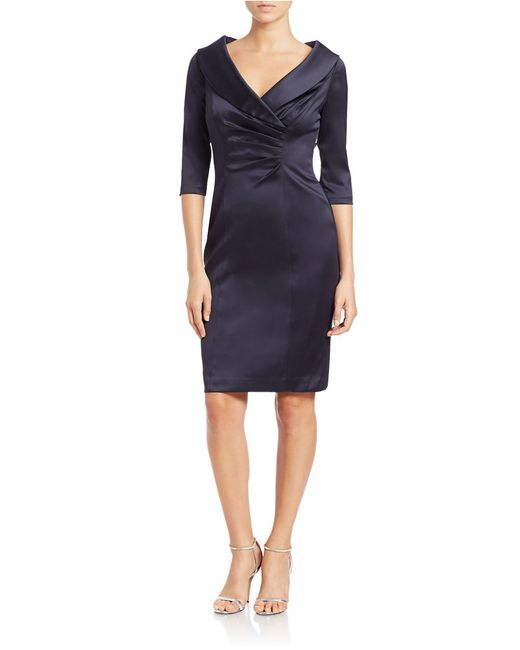 Kay Unger | Blue Satin Portrait Collar Cocktail Dress | Lyst