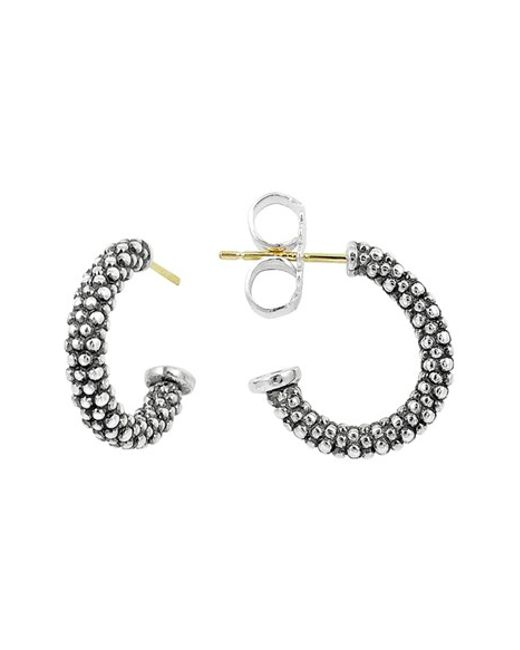 Lagos | Metallic Caviar Beaded Silver Hoop Earrings | Lyst