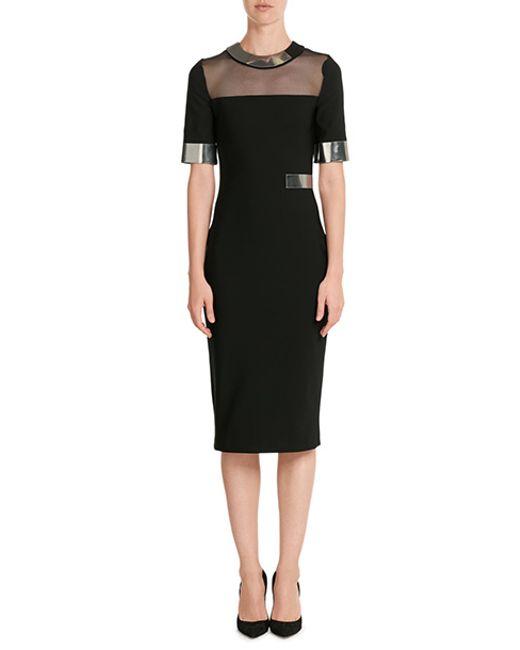 Mugler   Black Sheer-Insert Jersey Dress    Lyst