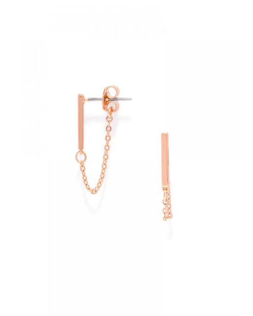 BaubleBar | Metallic Chain Bar Studs-rose Gold | Lyst