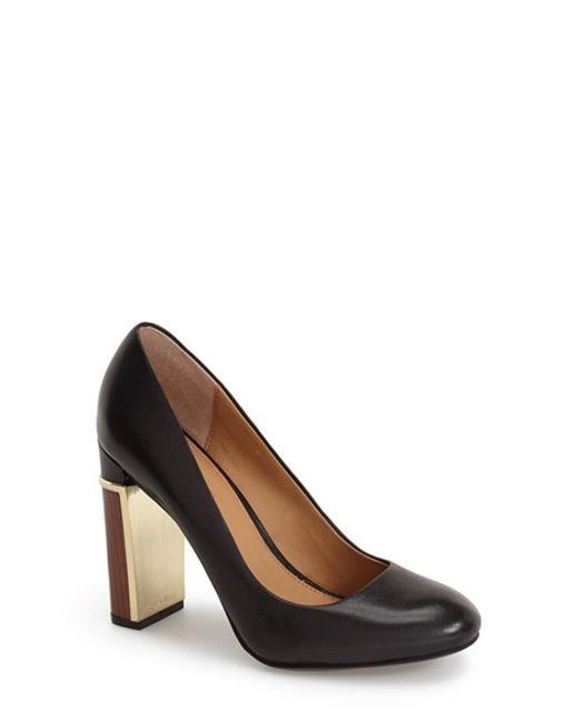 Calvin Klein | Black 'Kinsley' Round Toe Pump | Lyst