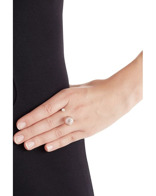 Delfina Delettrez | Pink 18kt Gold Ring With White Diamond And Pearls | Lyst