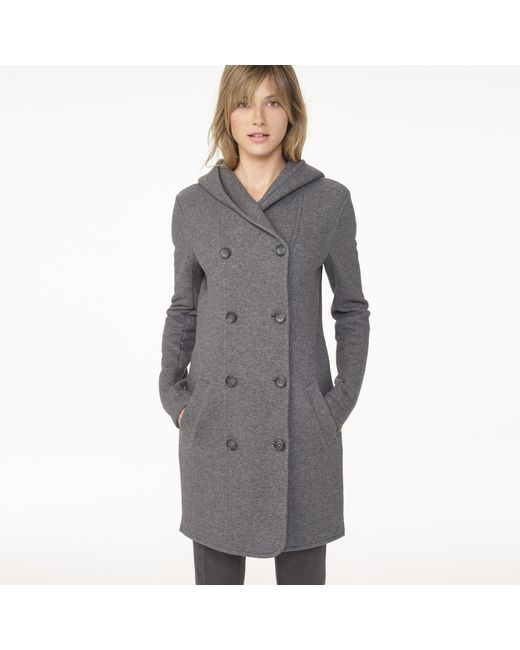 James Perse   Gray Double Breasted Hoodie Coat   Lyst