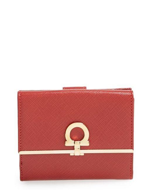 Ferragamo | Red 'french Icona' Saffiano Calfskin Leather Wallet | Lyst