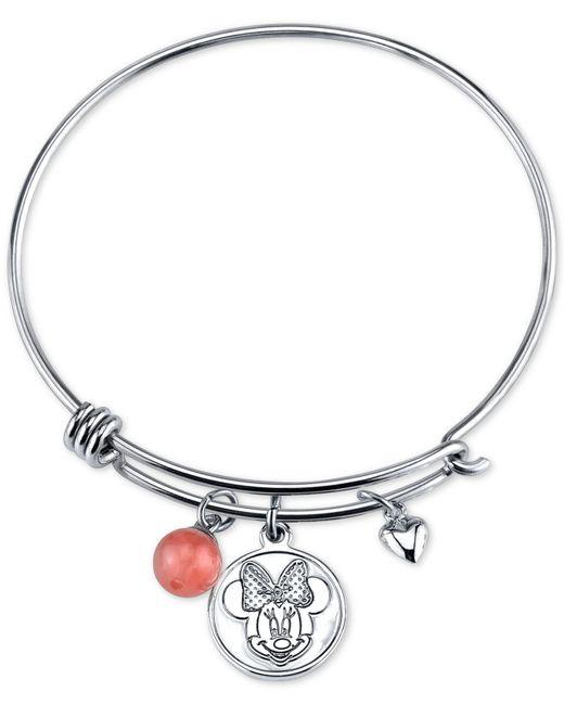 Disney | Metallic Minnie Mouse Cherry Quartz Charm Bracelet In Stainless Steel | Lyst