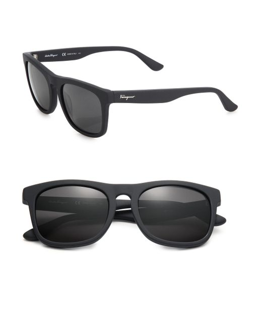 Ferragamo | Black Wayfarer Matte-Acetate Sunglasses for Men | Lyst