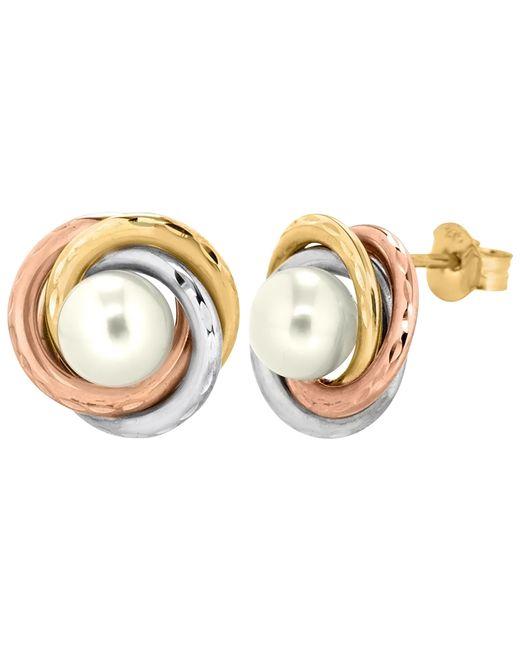 Ib&b   Multicolor 9ct Gold Triple Tone Pearl Swirl Stud Earrings   Lyst