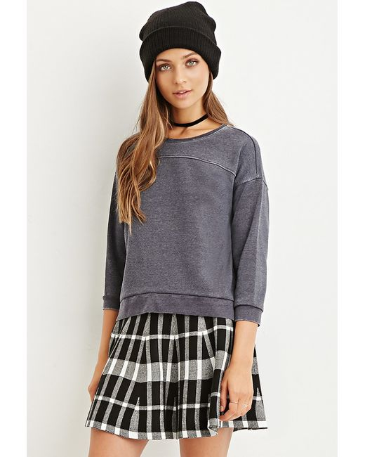 Forever 21 | Gray Paneled Sweatshirt | Lyst