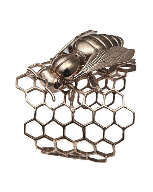 Bernard Delettrez | Metallic Honeycomb Cuff With Bee | Lyst