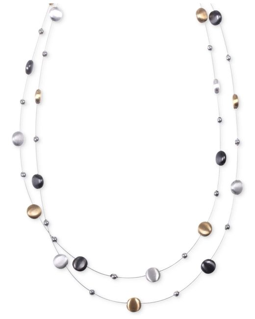 Nine West | Metallic Tri-tone Layer Necklace | Lyst