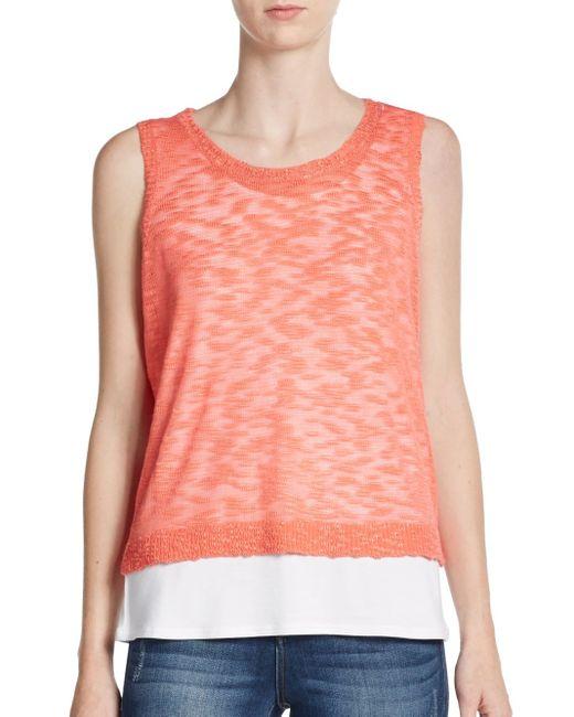 Kensie | Pink Knit-overlay Top | Lyst