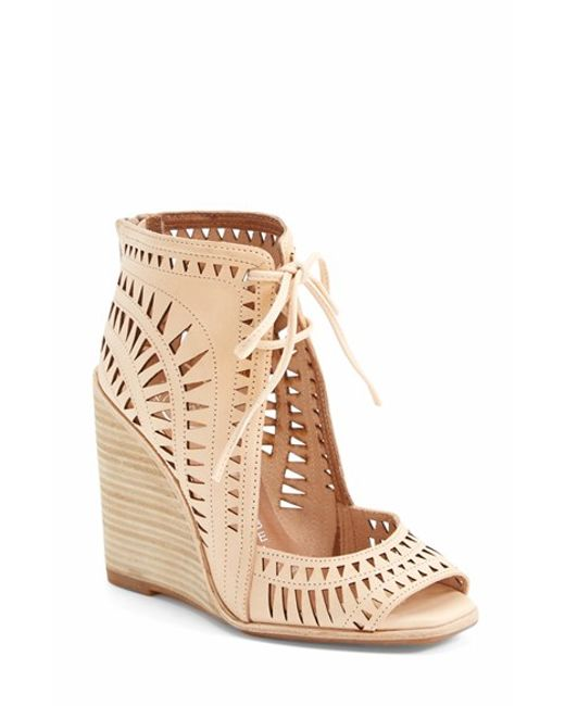 Jeffrey Campbell | Natural Rodillo-Hi Leather Wedge Sandals | Lyst
