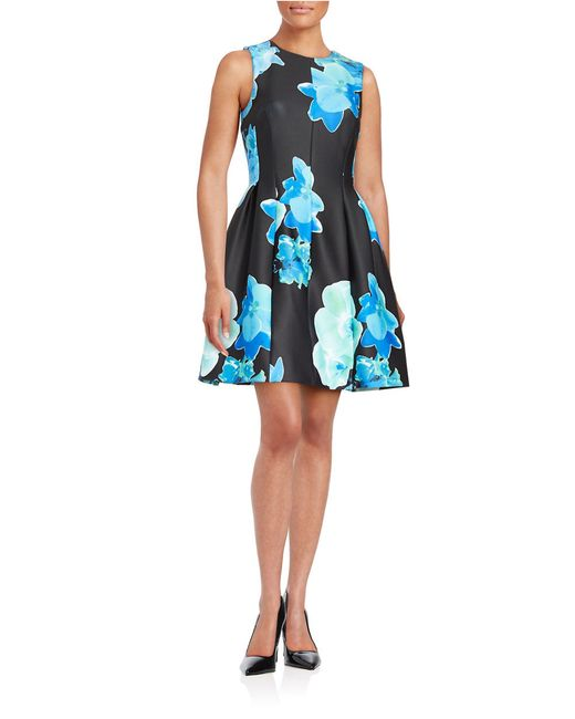 Calvin Klein Floral Fit And Flare Dress In Blue Save 60