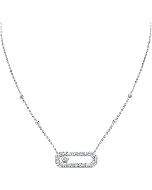 Messika | Metallic Move Uno 18ct White-gold And Diamond-set Necklace | Lyst