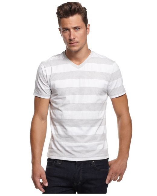 Alfani big and tall heather wide stripe v neck t shirt in for Mens tall v neck t shirts