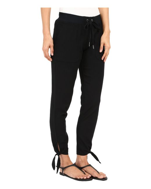Mod O Doc Linen Rayon Ankle Tie Pull On Pants In Black Lyst