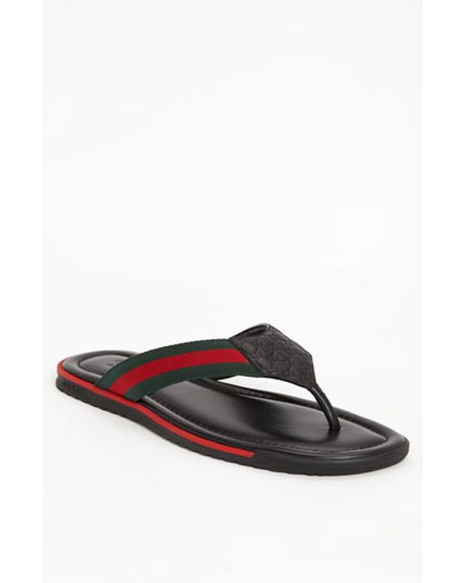 Gucci | Black 'sl 73 Beach' Flip Flop for Men | Lyst