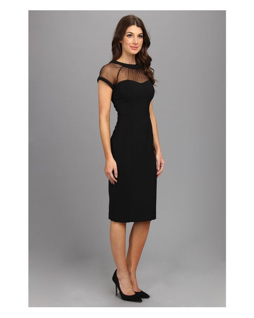 Maggy London Illusion Top Crepe Dress In Black Lyst