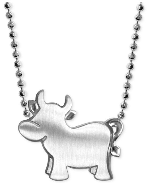 Alex Woo | Metallic Little Ox Zodiac Pendant Necklace In Sterling Silver | Lyst