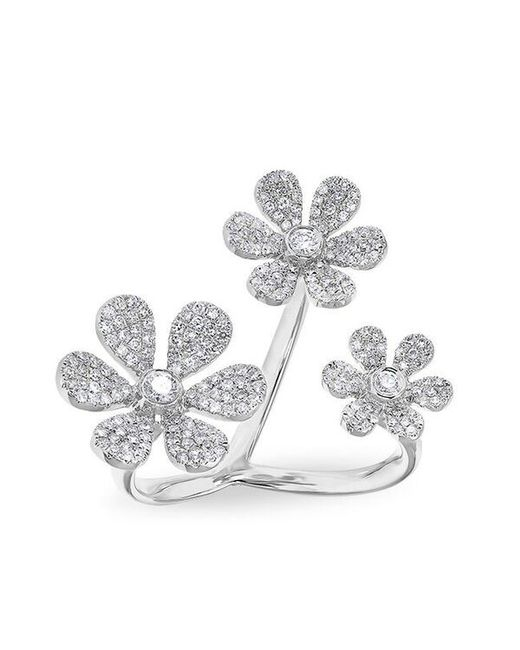 Anne Sisteron - Multicolor 14kt White Gold Diamond Floating Triple Daisy Flower Ring - Lyst