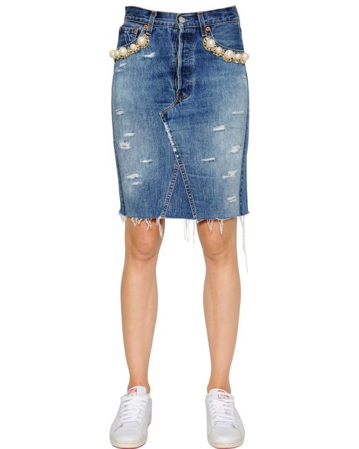 forte couture embellished cotton denim pencil skirt in