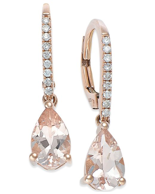 Macy's | Metallic Morganite (1-1/5 Ct. T.w.) And Diamond (1/10 Ct. T.w.) Earrings In 14k Rose Gold | Lyst
