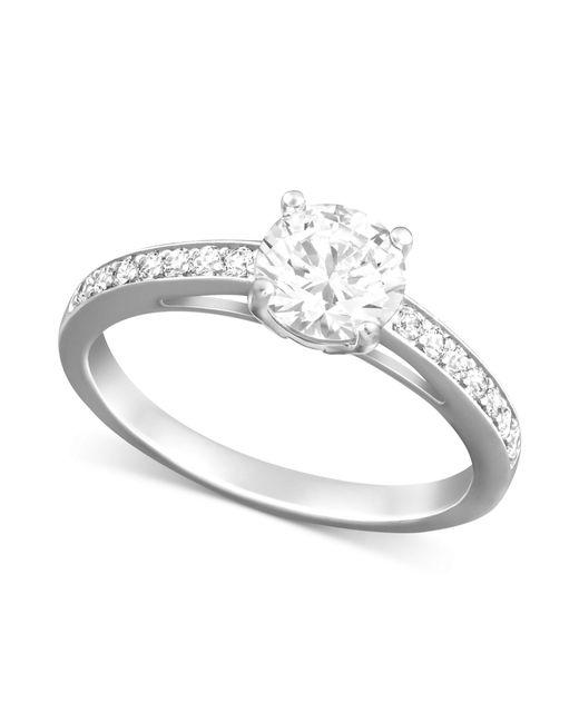 Swarovski   Metallic Rhodium-plated Round-cut Clear Crystal Ring   Lyst