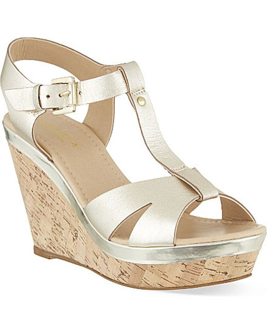 Carvela kurt geiger Kabby Wedge Sandals in Gold