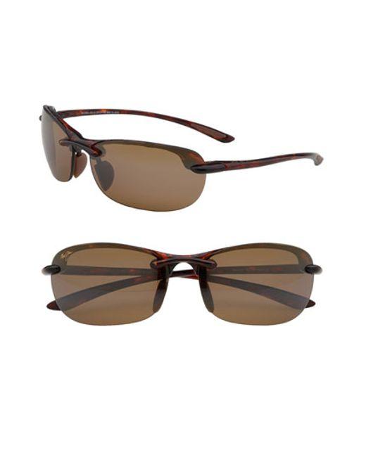 Maui Jim | Brown 'hanalei - Maui Evolution' 64mm Rimless Sunglasses | Lyst