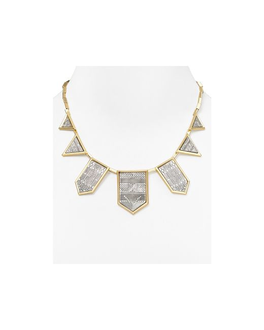 House of Harlow 1960 | Metallic Engraved Five Station Necklace, 16"