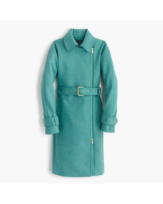 J.Crew | Blue Petite Belted Zip Trench Coat In Wool Melton | Lyst