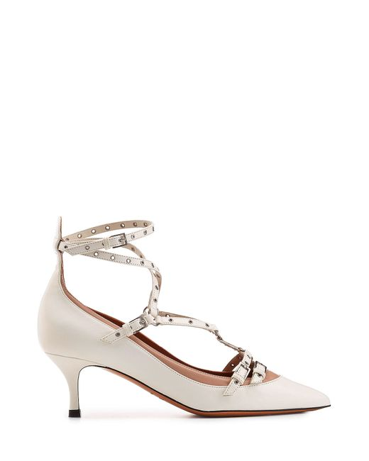 valentino love latch leather kitten heel pumps in white lyst. Black Bedroom Furniture Sets. Home Design Ideas