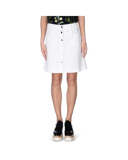 stella mccartney white denim skirt in white lyst