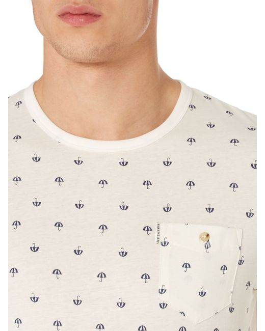 Ben Sherman | White Umbrella Print Crew Neck Regular Fit T-shirt for Men | Lyst