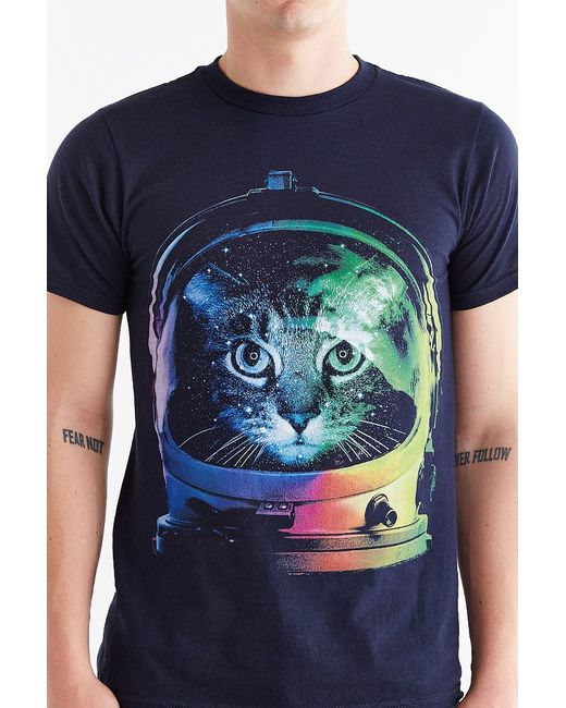 Design by humans astronaut cat tee in blue for men navy for Lucky cat shirt urban outfitters