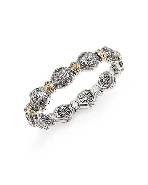 Konstantino | Metallic Thalassa 18k Yellow Gold & Sterling Silver Etched Link Bangle Bracelet | Lyst