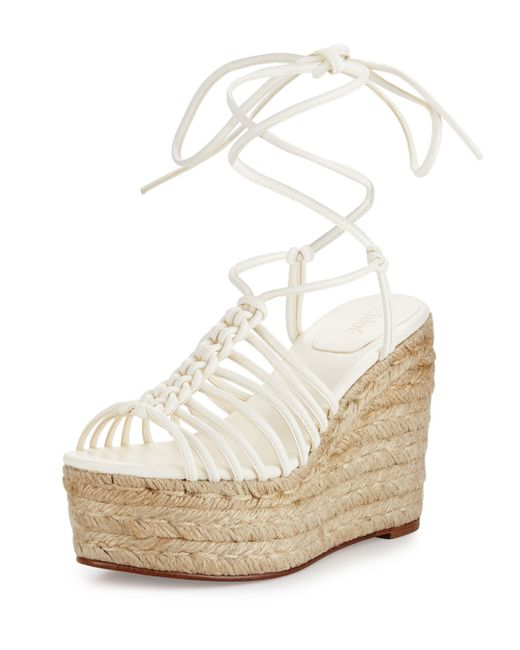 Chlo 233 Caged Leather Espadrille Wedge Sandal In White