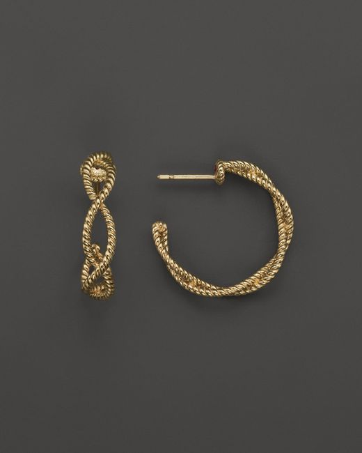 Roberto Coin | Metallic 18k Yellow Gold Twisted Hoop Earrings | Lyst