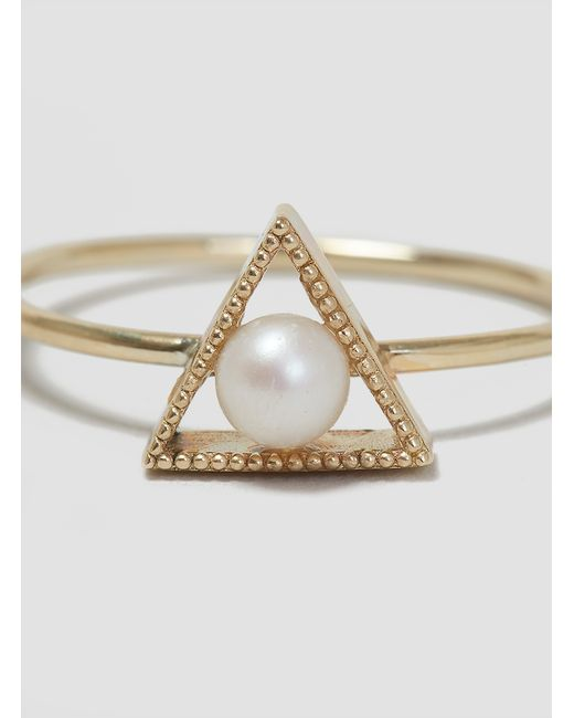 Grace Lee | Metallic Triangle Pearl Ring Gold | Lyst