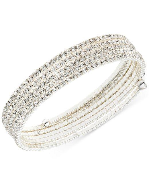 Anne Klein   Metallic Silver-tone Multi-row Rhinestone Flex Bracelet   Lyst