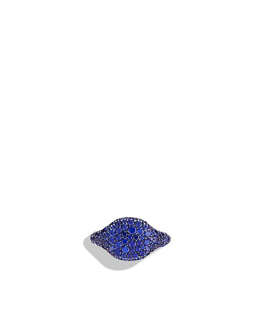 David Yurman | Petite Pavé Pinky Ring With Blue Sapphires In 18k White Gold | Lyst