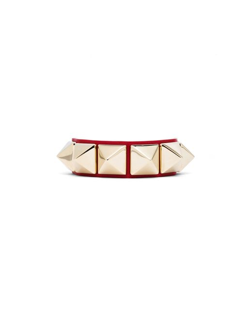 Valentino   Red Medium Rockstud Calfskin Bracelet   Lyst