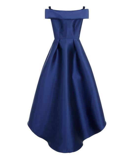 Chi Chi London Embroidered Bardot Dip Hem Dress In Blue Lyst